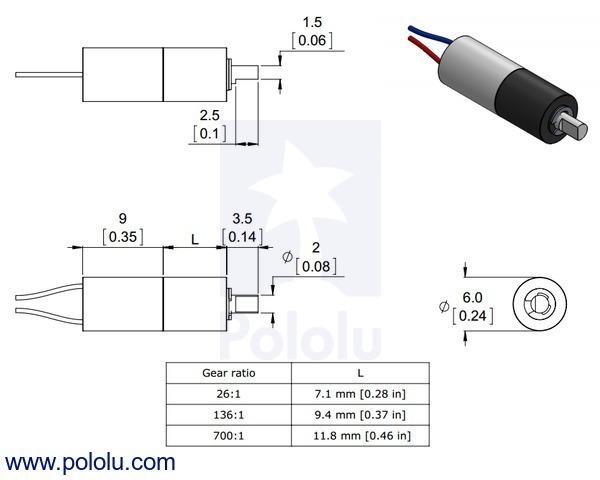 Sub-micro gearmotor dimensions