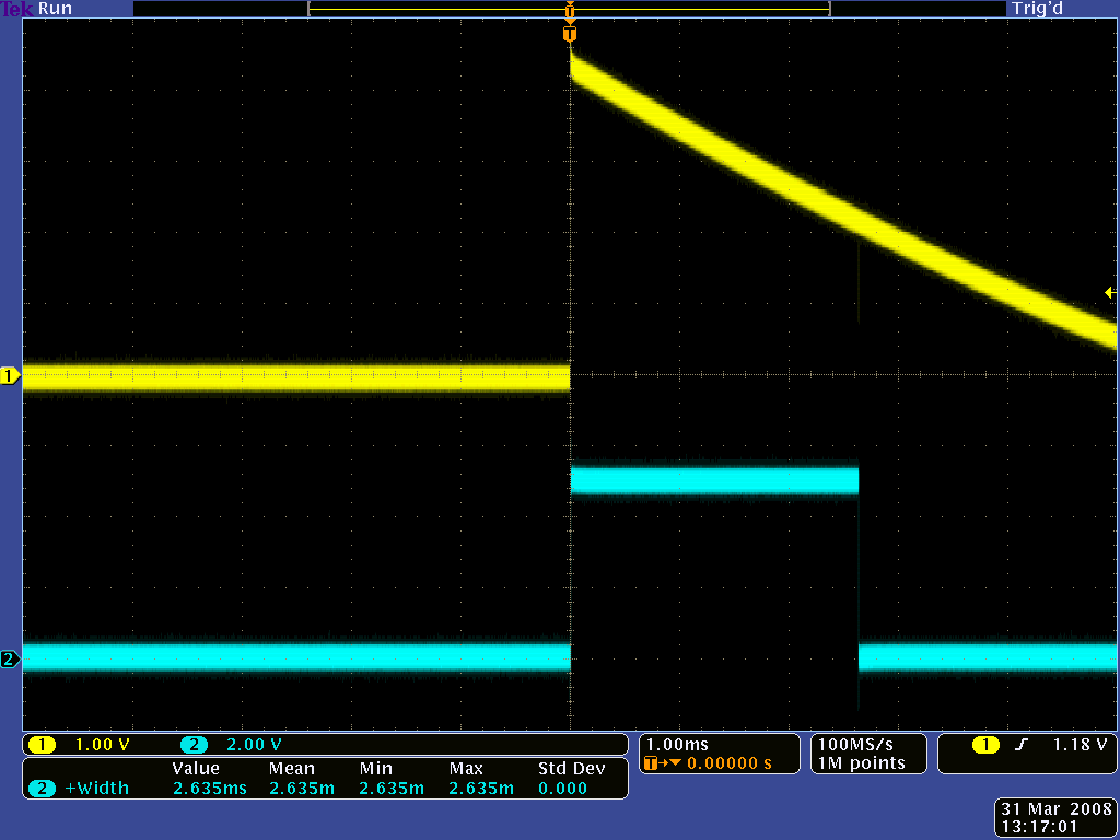 "QTR-1RC output (yellow) when 1/8"" above a black line and microcontroller timing of that output (blue)"