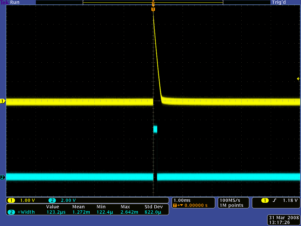"QTR-1RC output (yellow) when 1/8"" above a white surface and microcontroller timing of that output (blue)"