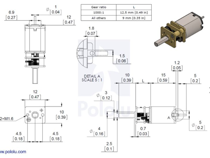 Dimensions of LP, MP and HP Metal Gearmotors excl the HPCB type