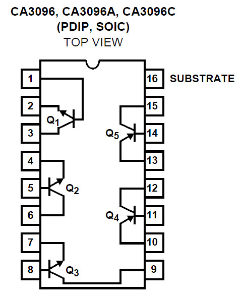 ca3096e transistor array pdip 16