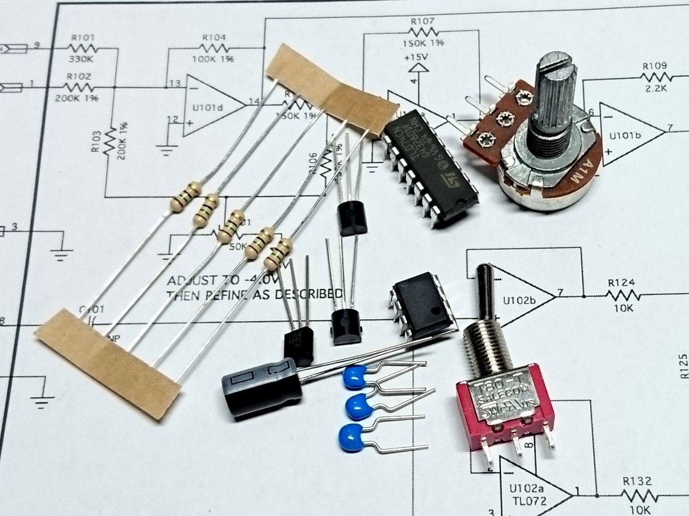YuSynth MiniMoog Transistor Ladder VCF Module Bare Electronics Parts Kit