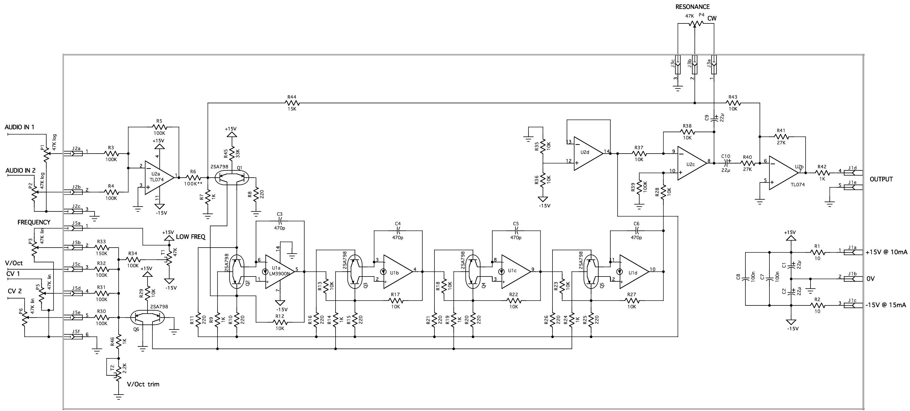 Yusynth Arp Vcf Module Bare Pcb 2n3906 Version Wiring Diagrams Euro Rack Schematic