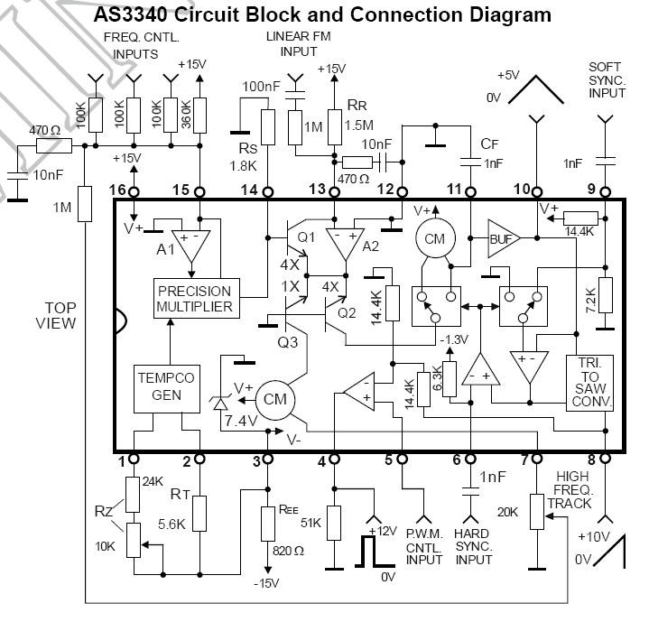 AS3340 Voltage Controlled Oscillator (VCO) 16-Pin DIP on