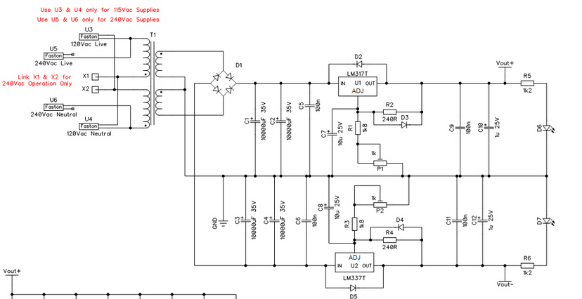 Soundtronics Modular Synth Bipolar Linear Power Supply Parts Kit