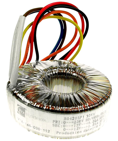 Toroidal Mains Transformer Single 230V Primary 30VA 0-15V 0-15V Twin Secondary