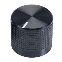 Cliff KM20B Black Aluminium Clad Plastic Knob, 6mm Spline