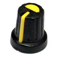 Black mixer style know with yellow pointer for T18 6mm pot shafts