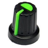 Black mixer style know with green pointer for T18 6mm pot shafts
