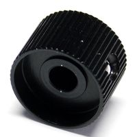 20mm grub screw black knob solid aluminium